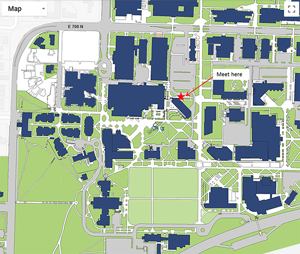 Shuttle meeting location on campus
